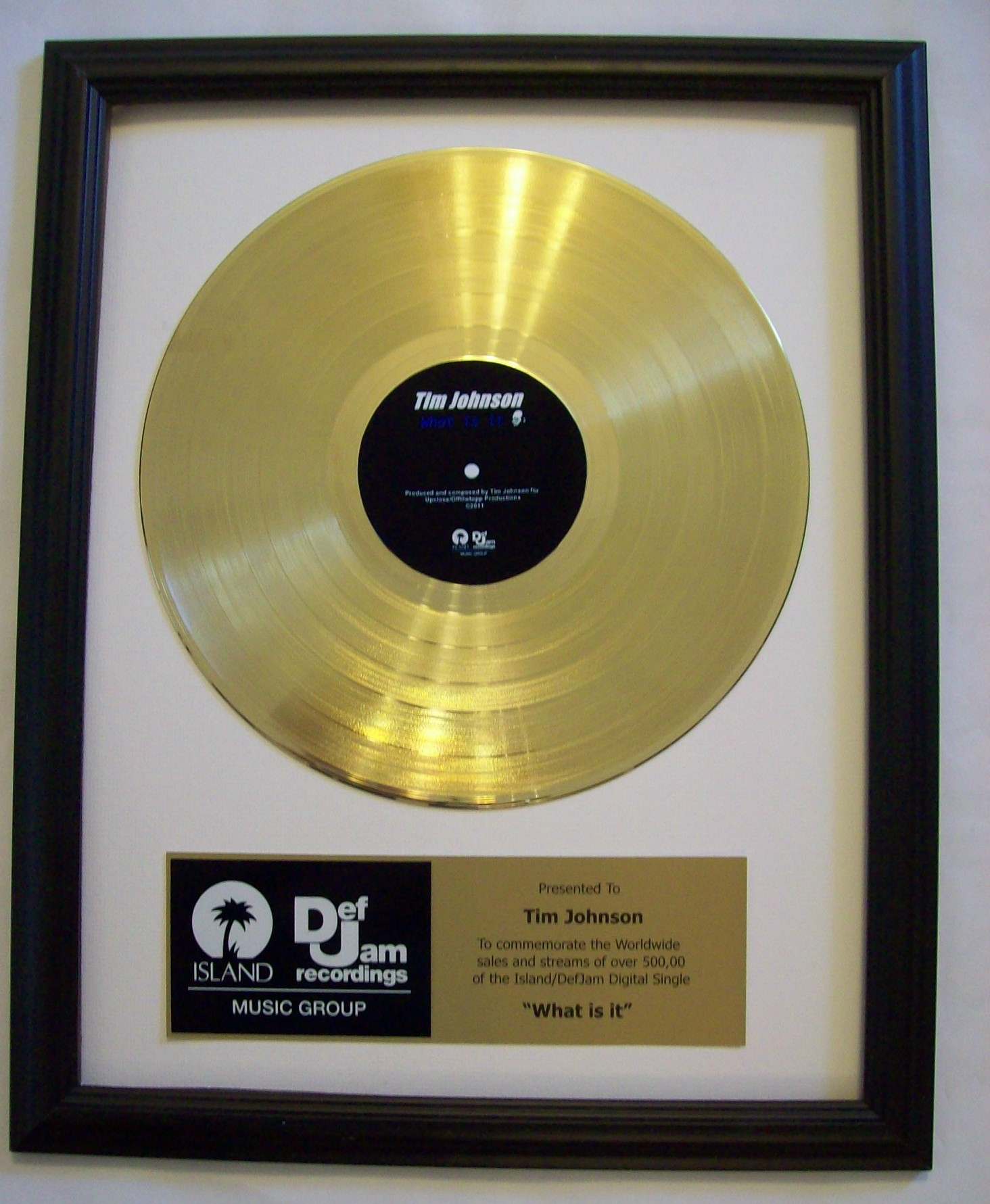 Image for Gold LP Record Trophy/Award