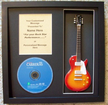 Image for Mini Guitar Award Trophy in Shadow Box or CD Display with Custom Plaque